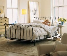 Paris Wrought Iron Sleigh Bed- Room View