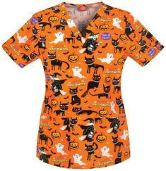 "The Dickies Women's ""A Purr-fect Halloween"" Scrub Top is pawstively purrfect! Features two patch pockets and side vents for ease of movement. Halloween Scrubs, Halloween Prints, Halloween Outfits, Halloween Clothes, Halloween Design, Disney Scrubs, Stylish Scrubs, Cute Scrubs, Scrubs Uniform"