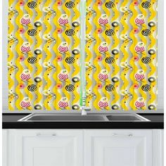East Urban Home Funky Kitchen Curtain Funky Kitchen, Modern Curtains, High Resolution Picture, Kitchen Curtains, Satin Fabric, Kitchen Accessories, Perspective, Vibrant, Colorful