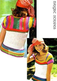 Vintage 70s Crochet RAINBOW Sleeved Top PDF by KinsieWoolShop