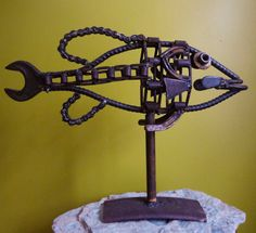 Rustic Metal Sculpture Bass Fish Mount by TheRustyOldBuzzard, $225.00