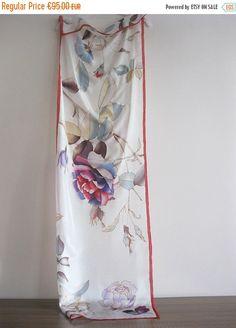 Bufanda de seda venta mano pintada arte usable botánico por DEsilk