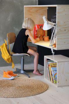 Escritorio caja de madera contrachapada/ Plywood desktop box #design
