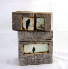 Hiding places - The morning crow - original encaustic mixed media carved in reclaimed barn wood Ingrid