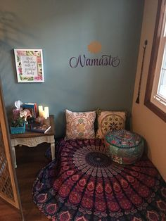 Meditation Corner – Wellness Room – Namaste by Read Meditation Room Decor, Meditation Corner, Meditation Space, Yoga Meditation, Namaste Yoga, Group Meditation, Home Yoga Room, Yoga Rooms, Diy Rangement