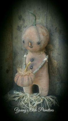 **Primitive Standing Pumpkin Boy Doll Fall Halloween** #NaivePrimitive