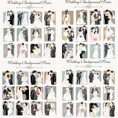 Set of vector wedding backgrounds with bride and groom in different poses. In archive 4 files and more than 48 beautiful newlyweds elegantly dressed in wedding clothes with fluffy dresses and costumes for decorations, greeting cards and posters. Wedding Picture Poses, Wedding Poses, Wedding Photoshoot, Wedding Couples, Wedding Pictures, Couple Pictures, Wedding Photography Checklist, Wedding Couple Poses Photography, Photography Ideas