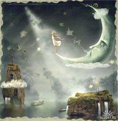 Fairy on the moon wall mural