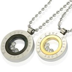 """Floating Cubic Zirconia Stainless Steel Couples """"Love Kiss"""" Medallion Pendant Necklace Set 18"""" and 24"""""""