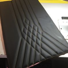 upholstery fabric crafts The Hog Rin - fabriccrafts Car Seat Upholstery, Car Interior Upholstery, Automotive Upholstery, Custom Car Interior, Car Interior Design, Automotive Design, Car Console, Leather Seat Covers, Car Furniture