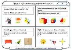 Fichas de comprensión de instrucciones escritas, realizar acciones sobre dibujos