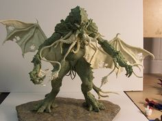 "Cthulhu Statue Raw by ~Trapjaw on deviantART trapjaw.deviantart.com/ | ""Here's Cthulhu during sculpture and design phase in resin and castaline."""