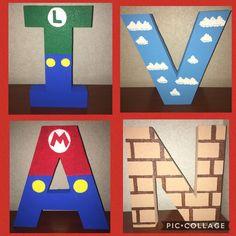 Styrofoam letters Super Mario