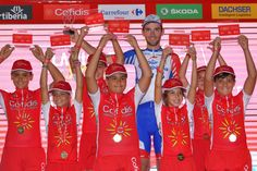 MALAGA, SPAIN - AUGUST 25: Podium / Benjamin Thomas of France and Team Groupama FDJ Best Young Rider Celebration / Children / during the 73rd Tour of Spain 2018, Stage 1 a 8km Individual Time Trial from Malaga to Malaga / La Vuelta / on August 25, 2018 in Malaga, Spain. (Photo by Tim de Waele/Getty Images)