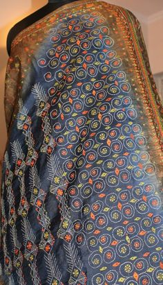 Silk shaded saree with kantha embroidery. For orders and inquiries, please mail us at naari@aninditacreations.com.  Like our page www.facebook.com/naari.aninditacreations