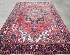 Big Size Persian Rug, Heriz Rug, Boho Carpet , Vintage Rug , Turkish Rug, Oushak Rug, Bohemian Rug, Geometric Rug 345 x 245 cm / 11.3 x 8 ft