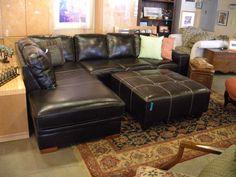 wonderful black leather sectional!