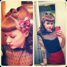 Bettie bangs and victory rolls.