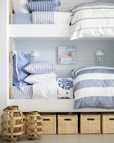 Bunk beds with blue decor in the beach house Coastal Cottage, Coastal Living, Coastal Decor, Coastal Style, Coastal Interior, Scandinavian Interior, Contemporary Interior, Bunk Rooms, Bunk Beds