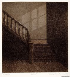 Stairway - Elina Luukanen, 1980 Etching, aquatint , x cm Stairways, Artsy Fartsy, Finland, Printmaking, Louvre, Outdoor Decor, Visual Arts, Scale, Museum