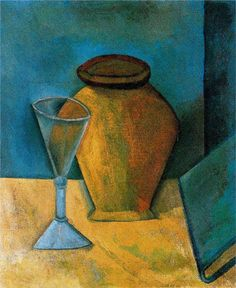 Pot, Wine-Glass and Book (Pot, verre de vin et livre), 1908 Oil on canvas by Pablo Picasso. The State Hermitage Museum; Kunst Picasso, Art Picasso, Picasso Paintings, Georges Braque, Picasso Still Life, Still Life Art, Hermitage Museum, Spanish Artists, Paul Gauguin