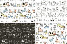 Cartoon Farm Animals Pattern by Popmarleo Shop on Creative Market