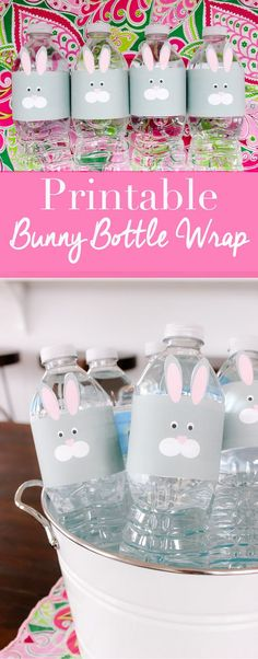 Bunny Bottle Wraps - Easter party - bottle wraps - diy #PureLife40PK #ad