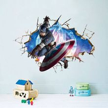 Avengers 3D Through Wall Stickers Decals Art for Baby Nursery Home Decoration Captain America WallPaper Kids Cartoon Poster(China (Mainland))