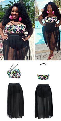 awesome Plus Size 4XL 2016 Push Up Bikini Print Mesh High Waist Swimsuit Brazilian Bikin...