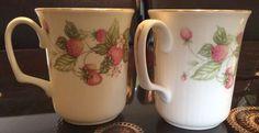 Royal Albert Lyndale Set Of 2 Mugs Strawberries Gold Trim English Bone China #RoyalAlbert