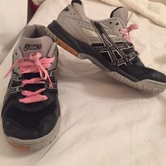Size 9 Asics Gel-Rocket volleyball shoes. Lightly worn. Size 9 grey and black woman's asics gel-rocket volleyball shoes asics Shoes Sneakers