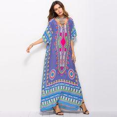 Elegant Dresses for Women Summer 2018 Ethnic Dashiki Dress Robe Traditional African Clothing Long Maxi Tunic Dress PLus size Big Size Dress, Large Size Dresses, Dress Robes, Cape Dress, Side Slit Maxi Dress, Retro Summer, Vestidos Vintage, African Attire, Batwing Sleeve