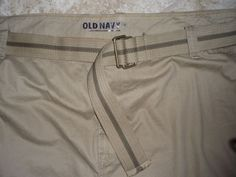 """NWT BIG MEN'S TAN/CAMEL OLD NAVY BELTED DISTRESSED COTTON LONG LENGTH SHORTS 52"""" #OldNavy #CasualShorts"""
