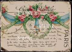 Carte Postale - Ribbons & Roses - Vintage French Collage Digital Sheet Printable - Instant Download - Transfer - Large Image by FrenchPaperMoon on Etsy