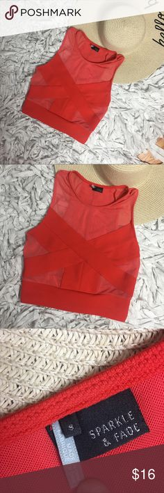 Urban Outfitters Mesh Crop Top UO brand Sparkle & Fade neon red/orange mesh crop top. Runs true to size. Accepting all reasonable offers. No flaws, snags, rips, holes or tears. Urban Outfitters Tops Crop Tops