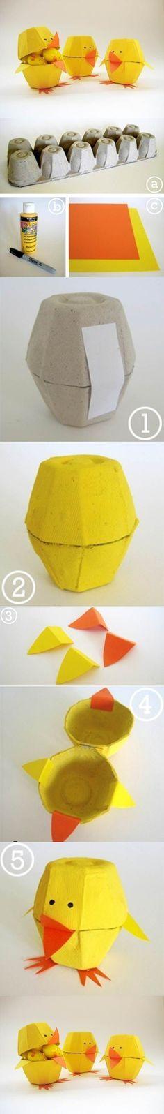 Cartón de huevos Craft - Lovely 2 polluelos: