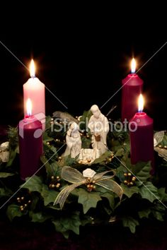 Advent Wreath with Nativity Scene Royalty Free Stock Photo