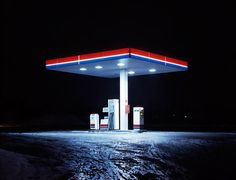 Cold Stations: photos of gas stations at night