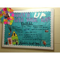 """""""What's 'Up' with your RA?"""" Disney and Pixar's """"Up"""" meet your RA themed bulletin board."""