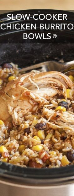 Slow-Cooker Chicken Burrito Bowls Recipe. This EASY crockpot chicken dinner is soon to be one of your favorite meals! I dont know anyone who doesnt like Mexican food, and this simple rice bowl is a party in your crock pot! #mexicanfoodrecipes