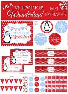 Free Winter Wonderland Party Printables, perfect for a holiday party or winter birthday! See more party ideas at Catch My Party.com. #freeprintables #winter #party