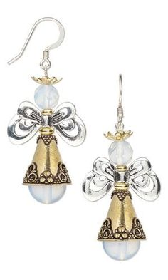 """Earrings with Sea """"Opal"""" Glass Beads, Antiqued Silver-Plated Pewter Beads and Antiqued Gold-Plated Brass Cones"""