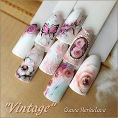 Here are some hot nail art designs that you will definitely love and you can make your own. You'll be in love with your nails on a daily basis. Colorful Nail Designs, Nail Art Designs, Cute Nails, Pretty Nails, Vintage Nail Art, Nailart, Flower Nail Art, Manicure E Pedicure, Beautiful Nail Art
