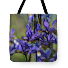 Sunny Tote Bag featuring the digital art Glowing Iris Blue Seven by Mo Barton
