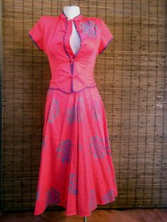 Vintage Hot Pink Tropical Asian Inspired Mandarin by Calliopegirl, $40.00