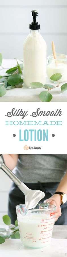 A silky smooth and creamy homemade lotion! This lotion rivals the consistency and feel of store-bought lotion. And it's made without coconut oil!