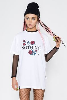 NOTHING T-SHIRT || SHOP HERE: https://www.goodbyebread.com/collections/wasted-paris/products/nothing-t-shirt #wastedparis #goodbyebread #lookbook #photoshoot #dreadlocks #white #cotton #short #sleeve #tshirt #print #roses #nothing #black #mesh #fishnet #tights #beanie