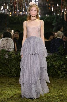 Dior Haute Couture                              « Caducité » Dior gray lace tiered ball gown. A perfect rose.