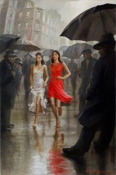 The artist Stanislav Plutenko plays on colour contrasts, his painting is very vigorous, illustrative and imbued through by sarcasm on the reality. Walking In The Rain, Singing In The Rain, I Love Rain, Rain Art, Umbrella Art, Anime Comics, Rainy Days, Female Art, Cool Art