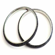 Swarovski Crystal Stainless Steel Bangle - #Black